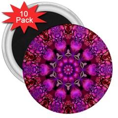 Pink Fractal Kaleidoscope  3  Button Magnet (10 Pack)