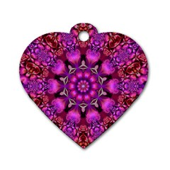 Pink Fractal Kaleidoscope  Dog Tag Heart (two Sided)