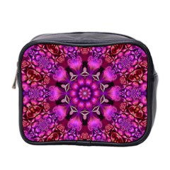 Pink Fractal Kaleidoscope  Mini Travel Toiletry Bag (two Sides)