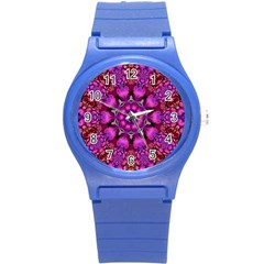 Pink Fractal Kaleidoscope  Plastic Sport Watch (small)