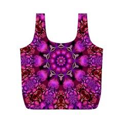 Pink Fractal Kaleidoscope  Reusable Bag (m)