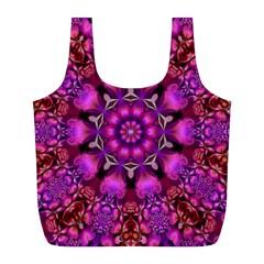 Pink Fractal Kaleidoscope  Reusable Bag (L)