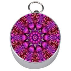 Pink Fractal Kaleidoscope  Silver Compass