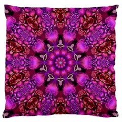 Pink Fractal Kaleidoscope  Large Flano Cushion Case (Two Sides)