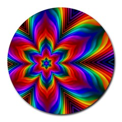Rainbow Flower 8  Mouse Pad (round)