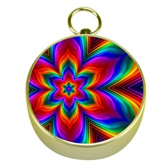 Rainbow Flower Gold Compass