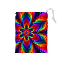 Rainbow Flower Drawstring Pouch (Medium)