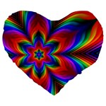 Rainbow Flower Large 19  Premium Flano Heart Shape Cushion Front