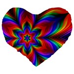 Rainbow Flower Large 19  Premium Flano Heart Shape Cushion Back