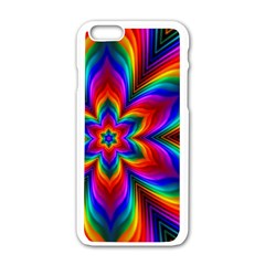 Rainbow Flower Apple iPhone 6 White Enamel Case