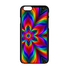 Rainbow Flower Apple Iphone 6 Black Enamel Case