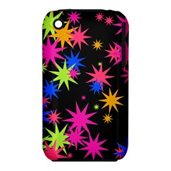Colorful Stars Pattern Apple Iphone 3g/3gs Hardshell Case (pc+silicone)