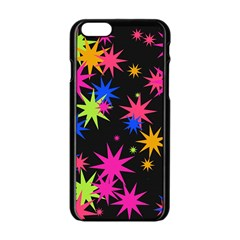 Colorful Stars Pattern Apple Iphone 6 Black Enamel Case