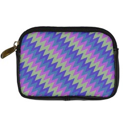 Diagonal Chevron Pattern Digital Camera Leather Case