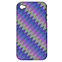 Diagonal Chevron Pattern Apple Iphone 4/4s Hardshell Case (pc+silicone)