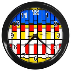 Colorful Rectangles Pattern Wall Clock (black)
