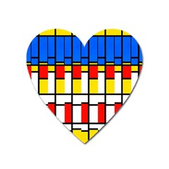 Colorful Rectangles Pattern Magnet (heart)