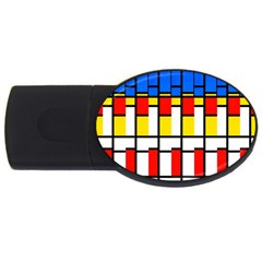 Colorful Rectangles Pattern Usb Flash Drive Oval (2 Gb)