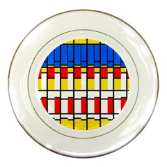 Colorful Rectangles Pattern Porcelain Plate