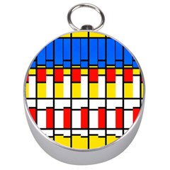 Colorful rectangles pattern Silver Compass
