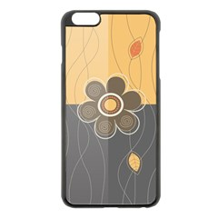 Floral Design Apple iPhone 6 Plus Black Enamel Case