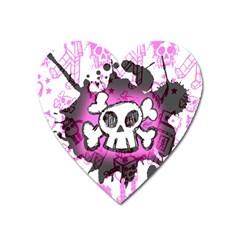 Cartoon Skull  Magnet (heart)