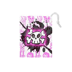 Cartoon Skull  Drawstring Pouch (small)