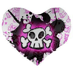 Cartoon Skull  Large 19  Premium Flano Heart Shape Cushion