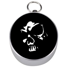 Gothic Skull Silver Compass