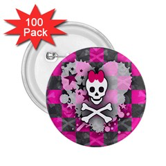 Princess Skull Heart 2 25  Button (100 Pack)