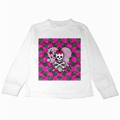 Princess Skull Heart Kids Long Sleeve T Shirt
