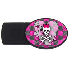 Princess Skull Heart 4gb Usb Flash Drive (oval)