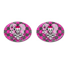 Princess Skull Heart Cufflinks (oval)