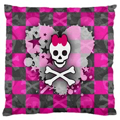 Princess Skull Heart Large Cushion Case (two Sided)