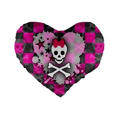 Princess Skull Heart Standard 16  Premium Flano Heart Shape Cushion