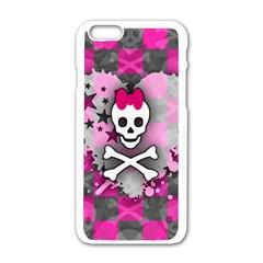 Princess Skull Heart Apple iPhone 6 White Enamel Case