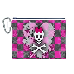 Princess Skull Heart Canvas Cosmetic Bag (Large)