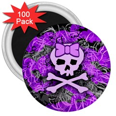 Purple Girly Skull 3  Button Magnet (100 Pack)