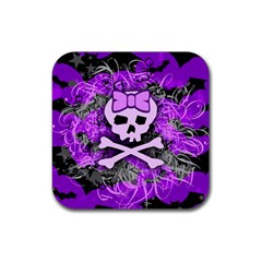 Purple Girly Skull Drink Coaster (square)