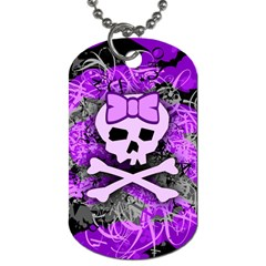 Purple Girly Skull Dog Tag (two Sided)