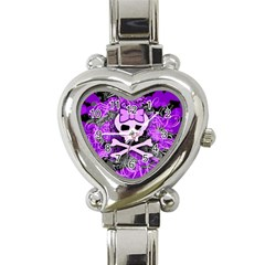 Purple Girly Skull Heart Italian Charm Watch
