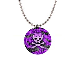 Purple Girly Skull Button Necklace