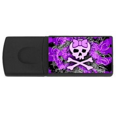 Purple Girly Skull 4gb Usb Flash Drive (rectangle)