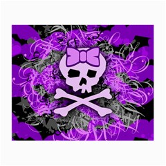 Purple Girly Skull Glasses Cloth (small, Two Sided)