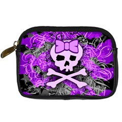 Purple Girly Skull Digital Camera Leather Case