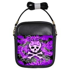 Purple Girly Skull Girl s Sling Bag