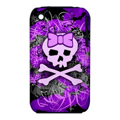 Purple Girly Skull Apple Iphone 3g/3gs Hardshell Case (pc+silicone)