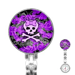 Purple Girly Skull Stainless Steel Nurses Watch