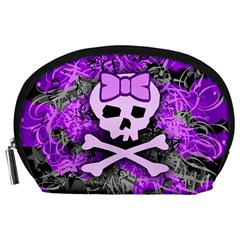 Purple Girly Skull Accessory Pouch (Large)