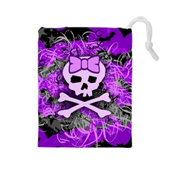 Purple Girly Skull Drawstring Pouch (Large)